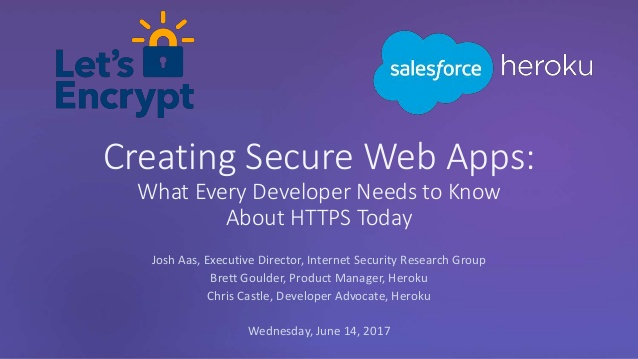 First slide of the presentation, titled Creating Secure Web Apps: What Every Developer Needs to Know About HTTPS Today